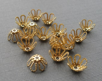 50 Gold plated brass 7mm filagree beadcap
