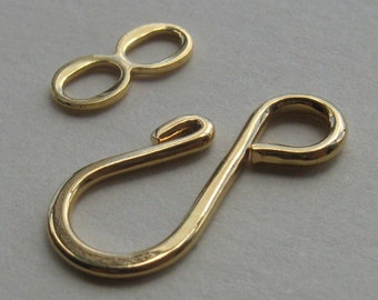 10 Gold plated brass hook and loop clasps 27mm