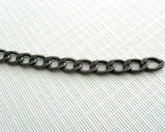 Brass antiqued filed curb chain 6 feet 8mm links