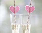 Valentine's Day SALE: Felt Heart Paper Straws - Pink