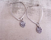 Reserved- Silver Leaf Shaped Hoops with Allium Petals