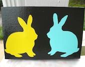 SALE  Bunny Rabbit Silhouette Painting