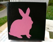 SALE   Pink Bunny Rabbit Silhouette Painting