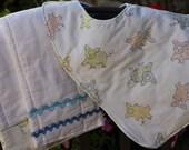 Cute Little Piggies Bib and Burp Cloth Gift Set