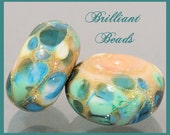 Butter Pecan, Blues & Mint Greens Silver-Foiled Glass Beads - Handmade Lampwork Pair SRA, Made To Order