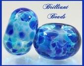 Blue Lagoon Lampwork Glass Bead Pair - Handmade Lampwork Beads SRA, Made To Order