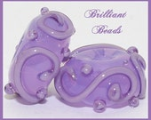 Translucent Violet Scrollwork Glass Beads- Handmade Lampwork Pair SRA, Made To Order