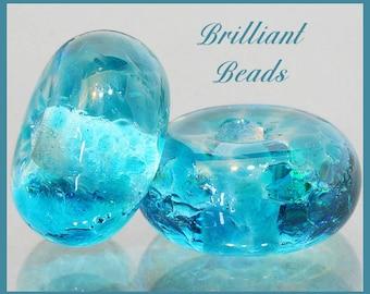 Spring Rain...Teal Blue Glass Beads - Handmade Lampwork Pair SRA, Made To Order