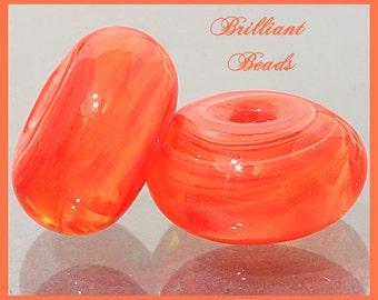 Tangerine Orange Glass Spacer Bead Pair...Handmade Lampwork Beads SRA, Made To Order