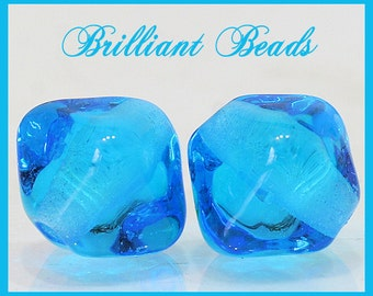 Transparent Aqua Bicone Glass Beads - Handmade Lampwork Bead Pair SRA, Made To Order
