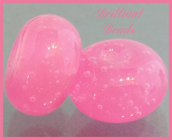 Alabaster Pink Bubble Glass Beads - Handmade Lampwork Pair SRA, Made To Order