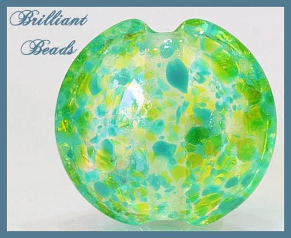 Spring Greens Glass Focal Bead...Handmade Lampwork Bead SRA, Made To Order