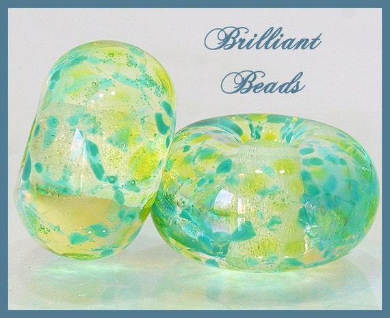 Spring Greens Glass Spacer Beads...Handmade Lampwork Bead Pair SRA, Made To Order