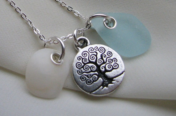 Tree Of Life Necklace With Beach Glass and Lucky Stone
