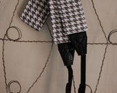 Camera Strap- Houndstooth Check In Grey and White