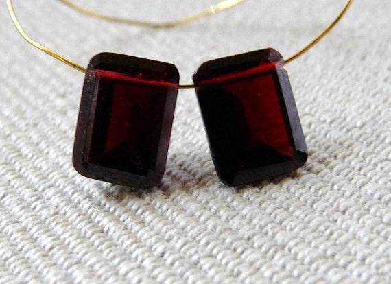 AAA Deep Red Garnet Emerald Cut Briolettes -8mm - Matched Pair