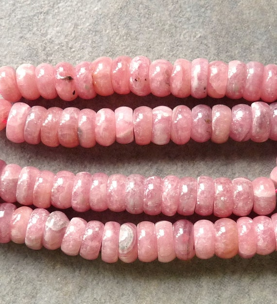 Clearance -  AA Peachy-Pink Rhodochrosite Smooth Rondelle Wheel Beads - 7mm - 10 Beads