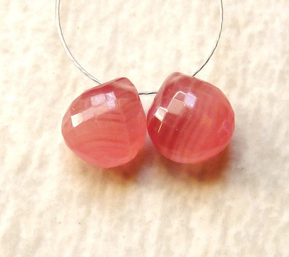 AAA Quality Rhodochrosite Faceted Pear Briolette Beads - 7mm - Pair