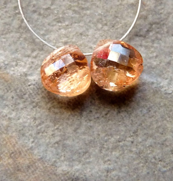 AA Peach Imperial Topaz Faceted Heart Briolettes -7mm - 2 Beads - Matched Pair