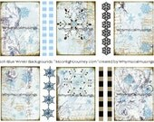 DigiTAl CollAGe SHeet Soft Blue Winter ACeO AtC BacKGrounds