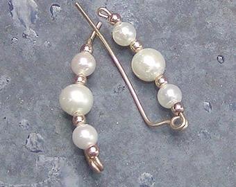 Ear Sweeps -- Ear Climbers -- Sweet, Simple Freshwater Pearls Ear Sweeps -- Pearl Ear Climbers