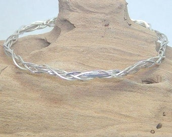 Unique Thin Grapevine Design Silver Wire Bracelet