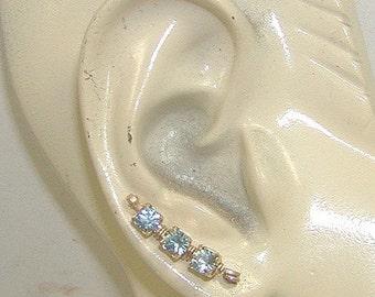 Glittering Light Blue Rhinestone Short Ear Sweeps