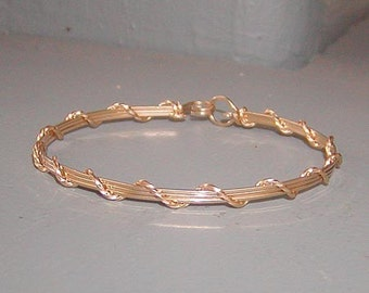 Charming and Feminine Gold Wire-Wrapped Bracelet