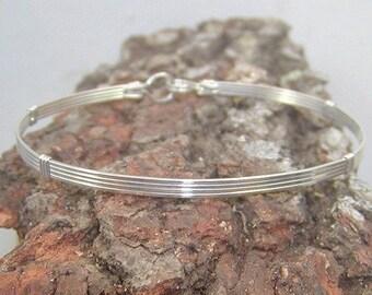 Bracelet -- Simple 4-Strand Sterling Silver Wire-Wrapped Bracelet -- Wire Bracelet -- Bangle Bracelet -- Silver Bracelet