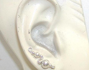Ear Climbers - Ear Sweeps - Smooth Sterling Silver Beads Simple Ear Sweeps - Up the Ear - Sterling Ear Sweep - Small Ear Sweeps - Great Gift
