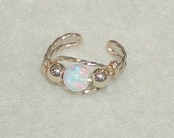 Ear Cuff Gold Wire with Opal Bead