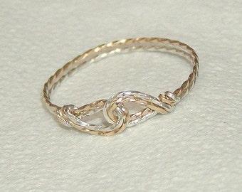 Two Swirls Two-Tone Twist Wire Thumb Ring, sz 9