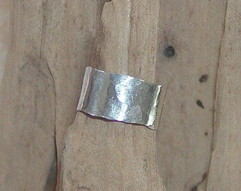 Ear Cuff Cute Hammered Sterling Silver Band