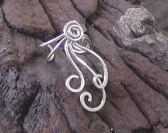 EAR CUFF Sweeping Sexy Curls Sterling Silver Wires