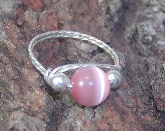 CLOSE-OUT Silver Wire Ring Sweet Pink Cat's Eye Bead, sz 5