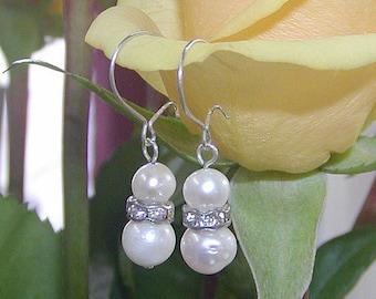 Pearl Earrings - Freshwater Pearls and Crystals Dangle Earrings - Sterling Silver - White Bridal Dangles - Great Gift - June Birthstone
