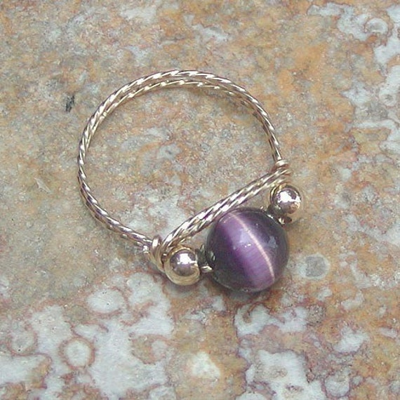 CLOSE-OUT Cool Purple Cat's Eye Bead Ring, sz 8