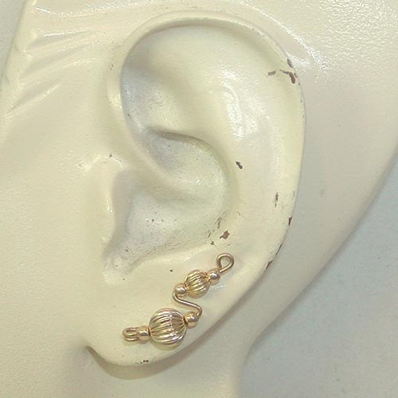 Ear Sweeps -- Fluted 14kt Gold Filled Beads Simple Ear Sweeps -- Ear Climbers