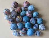 Blue Sea  Shipwrecked Eco Paper Beads Hand Rolled