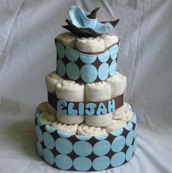 CLOTH Diaper Cake with Prefolds & Handmade by ...