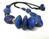 SILLY SALE - Natural lapis lazuli necklace with Thai hill tribe fine silver detailing