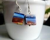 Silly Sale Milefiori cube earrings on sterling silver hooks