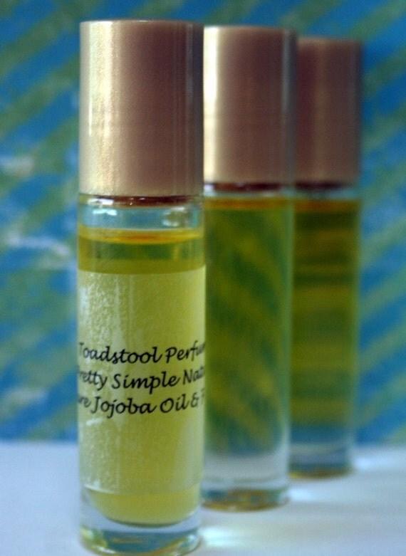 Perfume Oil  Black Tea Rose Organic Jojoba Oil Roll On Body Oil by Toadstool Soaps