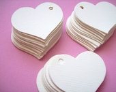 50 Soft white heart tags, Large Tags, wedding favor, party favor, valentine tag