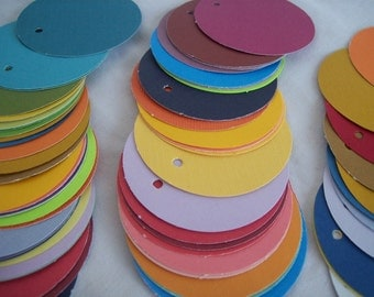 Circle tags, 50 multi colored, price tags, gift tags, favor tags