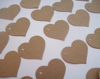 Heart tags - set of 100 gift, party favor, price tags