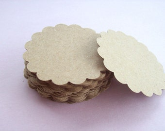 Tags, Scallop Tag, Set of 50, Round Tag, Price Label, Wedding Favor, Earring Card