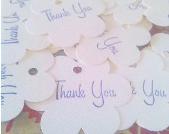 Thank You Tags, Flower Tags, Set of 50, Stamped Tag, Business Tag, Wedding Favor