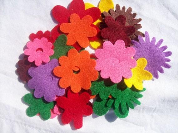 felt flowers, tropical colors, felt, fabric flowers