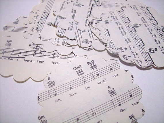 Sheet music scallops cut from vintage paper